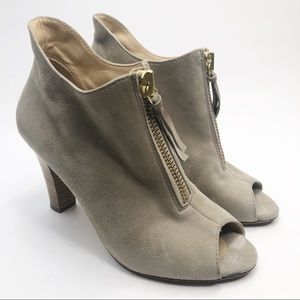 Paul Green Gray Taupe Suede Zip Ankle Bootie